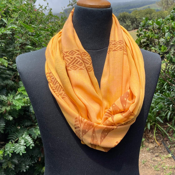 Ohe Kapala  Rayon Infinity Scarf in Deep Golden Yellow