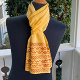 Ohe Kapala Silk Crepe Scarf in Golden Yellow - 3