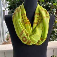 Ohe Kapala Rayon Infinity Scarf in Chartreuse
