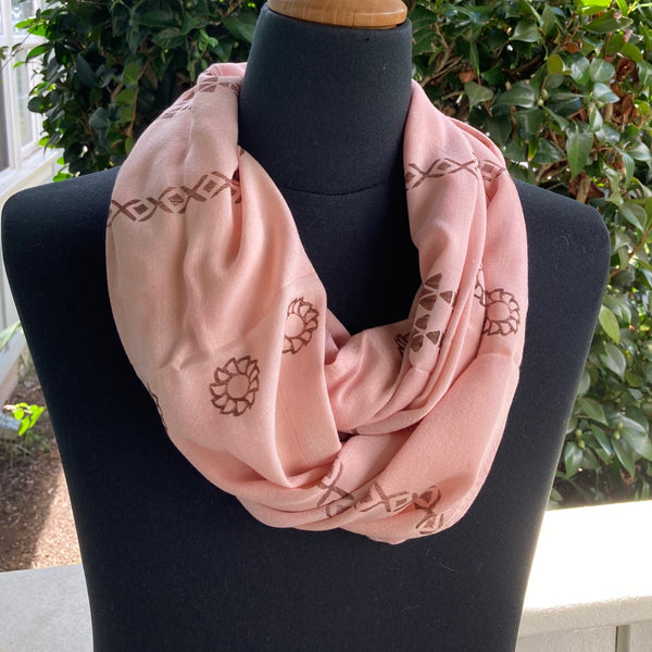 Ohe Kapala Rayon Infinity Scarf in Terracotta Pink