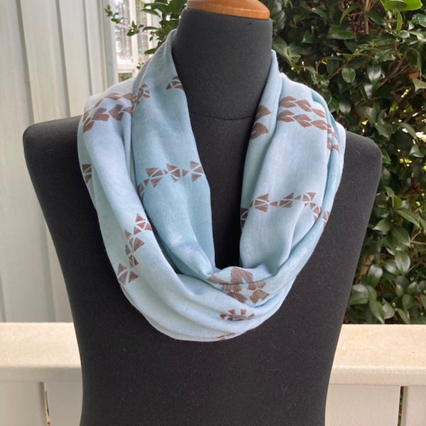 Ohe Kapala  Rayon Infinity Scarf in Light Blue