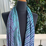 Shibori Rayon Infinity Scarf in Turquoise, Navy and Purple
