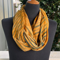 Shibori Rayon Infinity Scarf in Gold and Green