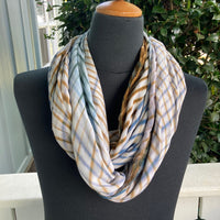 Shibori Rayon Infinity Scarf in Blue, Brown and White