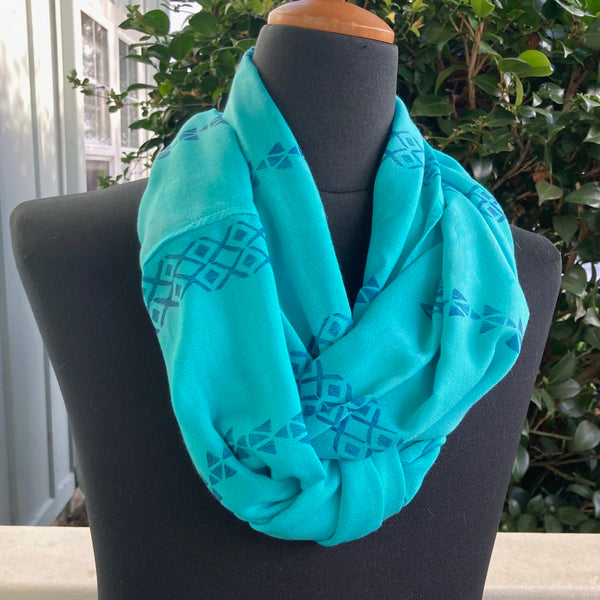 Ohe Kapala  Rayon Infinity Scarf in Teal with Mauna