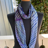 Shibori Rayon Infinity Scarf in Blue, Turquoise and Magenta
