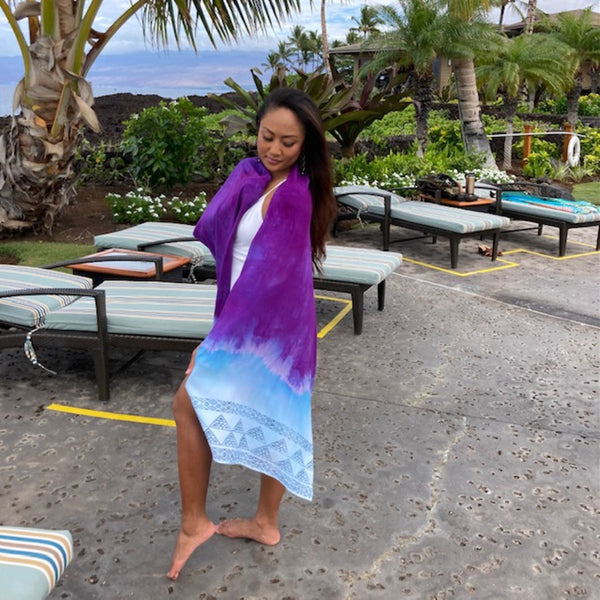 Ohe Kapala Rayon Wrap in Purple and Blue