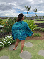 Shibori Silk & Wool Shrug in Blue and Green