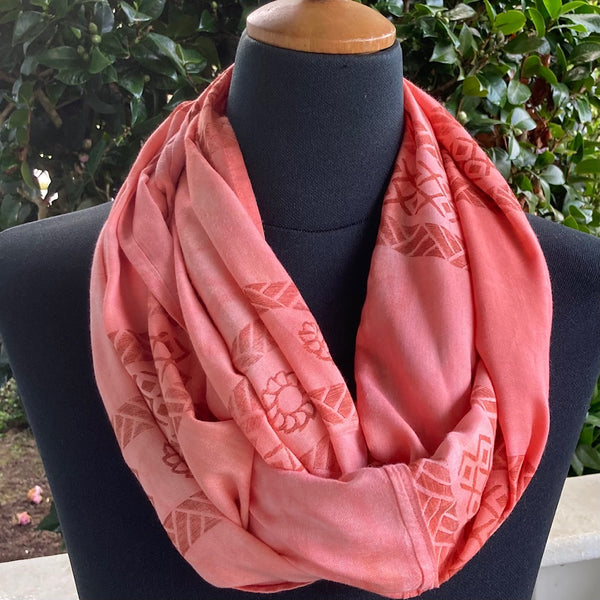 Ohe Kapala  Rayon Infinity Scarf in Mottled Light Coral with Pua