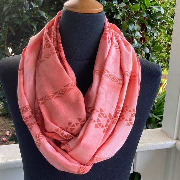 Ohe Kapala  Rayon Infinity Scarf in Mottled Light Coral with Wana