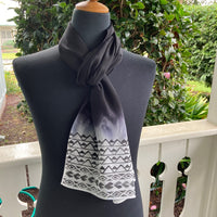 Ohe Kapala Silk Crepe Scarf in Black Ombre - 3