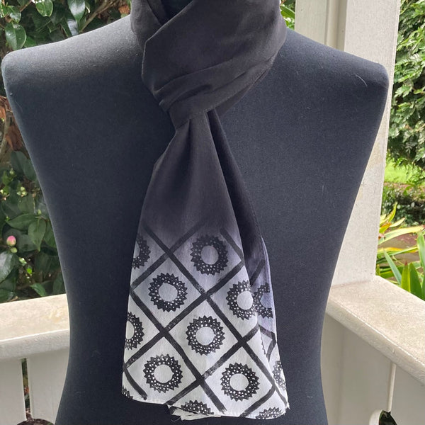 Ohe Kapala Silk Crepe Scarf in Black Ombre with Wana design