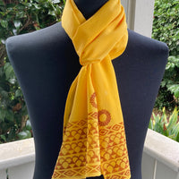 Ohe Kapala Silk Crepe Scarf in Golden Yellow with Wana