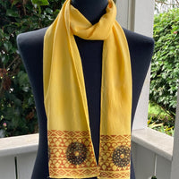Ohe Kapala Silk Crepe Scarf in Golden Yellow with Wana design