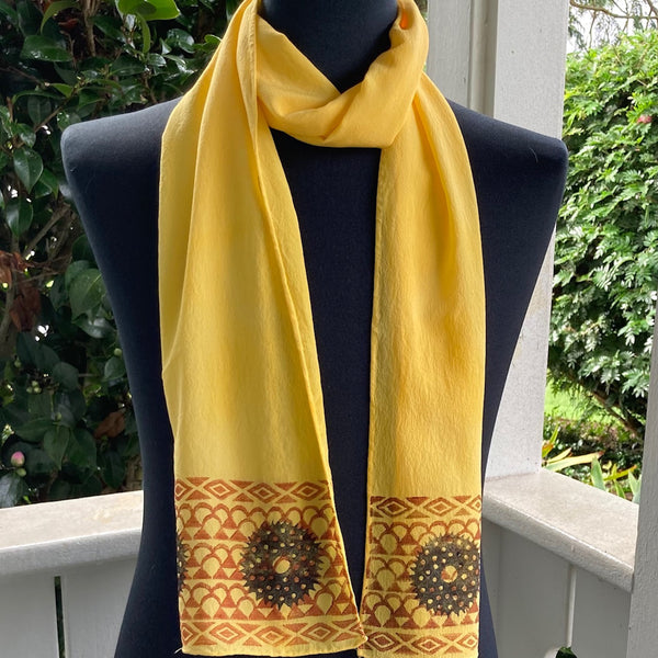Ohe Kapala Silk Crepe Scarf in Golden Yellow with Black Wana