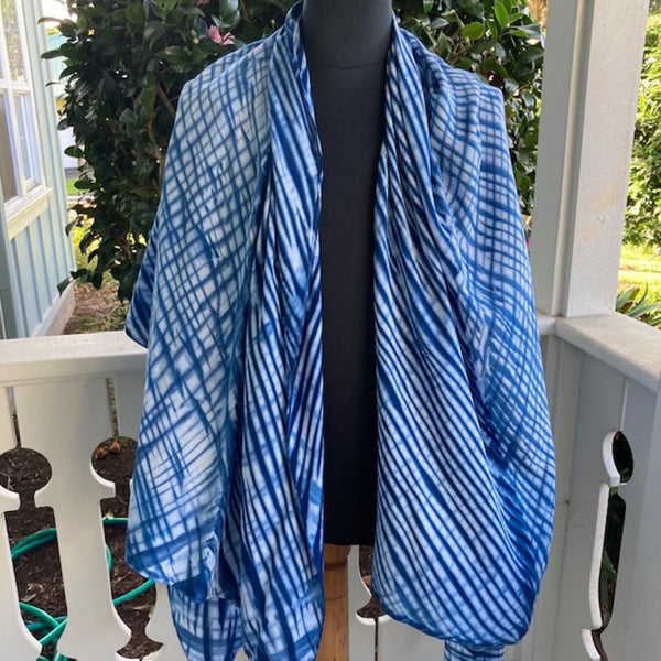 Rayon Shibori Wrap in Blue and White