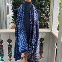 Rayon Shibori Wrap in Blue, Browns and White
