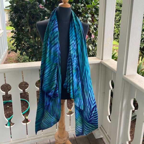 Rayon Shibori Wrap in Blue and Green