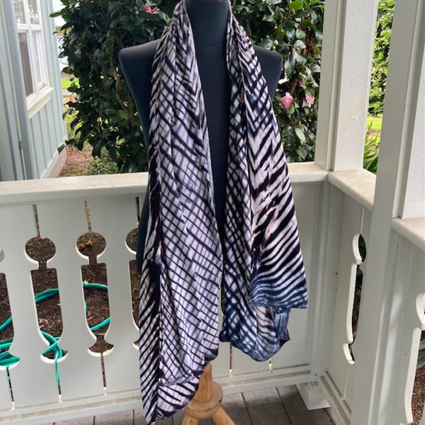 Rayon Shibori Wrap in Brown, White and Pale Blue