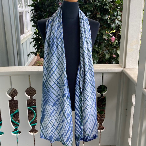 Rayon Shibori Wrap in Dark Green, Sky Blue and White