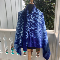 Shibori Honeycomb Rayon Pareo in Blues