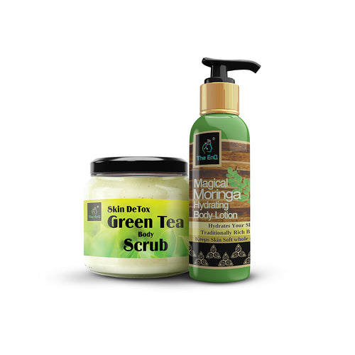 Green tea Body Scrub + Body Lotion