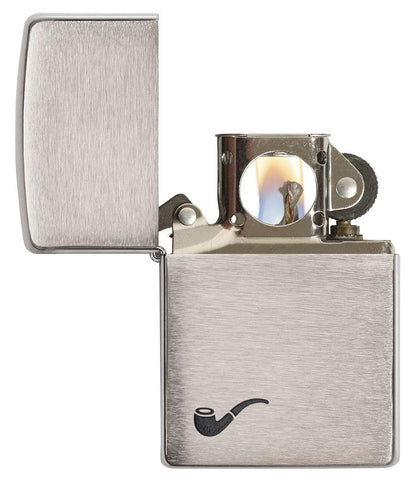 200PL, Brushed Chrome Pipe Lighter with Black Pipe Corner Symbol