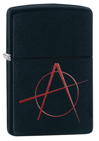 Red Anarchy Symbol on Black Matte Windproof Lighter standing at a 3/4 angle