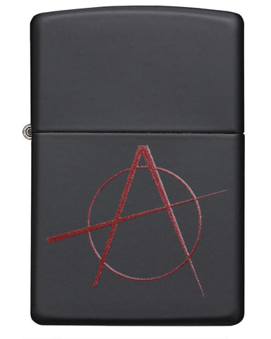 Front view of Red Anarchy Symbol on Black Matte Windproof Lighter