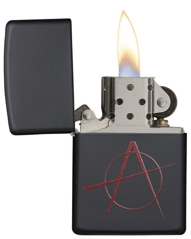 Red Anarchy Symbol on Black Matte Windproof Lighter with its lid open and lit