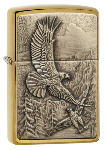 20854, Bronze Soaring Majestic Eagles, Emblem Attached, Brushed Brass Finish