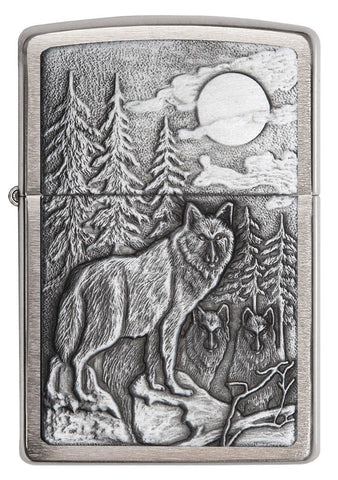 20855, Timberwolves in the Forest at Night with Glowing Moon, Silver Emblem on Brushed Chrome Finish