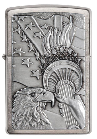 20895, Patriotic Eagle with Stars, Emblem Attached, Brushed Chrome Finish