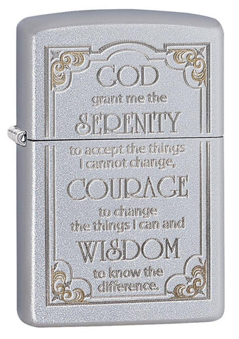 "28458, ""God grant me the serenity to accept the things I cannot change, Courage to change the things I can, and Wisdom to know the difference."" Auto Two Tone Engraving, Satin Chrome Finish"