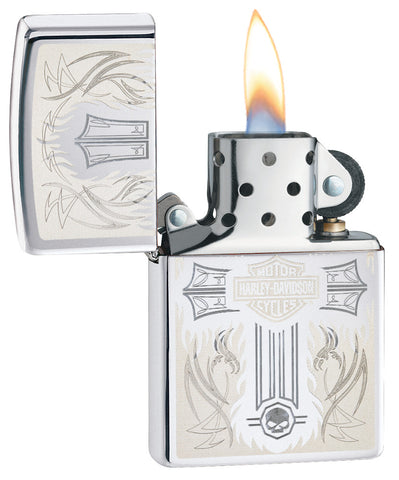 Harley-Davidson® Cross Chrome Windproof Lighter with its lid open and lit