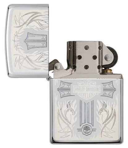 Harley-Davidson® Cross Chrome Windproof Lighter with its lid open and unlit