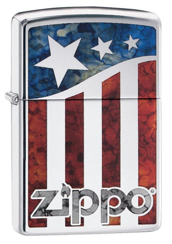 29095, Zippo US Flag, Fusion, High Polish Chrome, Classic Case