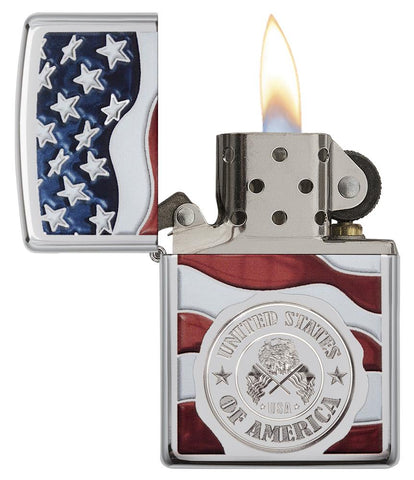 United States Stamp on American Flag Chrome Windproof Lighter with its lid open and lit