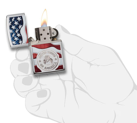 United States Stamp on American Flag Chrome Windproof Lighter lit in hand