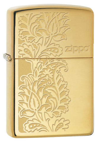 29609 Golden Paisley Zippo Design on a High Polish Brass Lighter