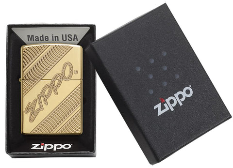 29625 Zippo Coiled Deep Carve Engraving on a High Polish Brass Lighter - Packaging