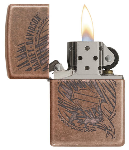 29664 - Harley-Davidson®Antique Copper Eagle Lighter, Open & Lit with Flame