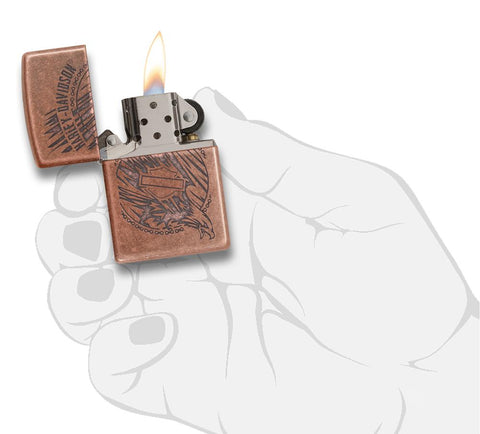 29664 - Harley-Davidson®Antique Copper Eagle Lighter, Open & Lit with Flame in Hand