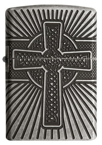 Front view of Armor® Celtic Cross Design Windproof Lighter