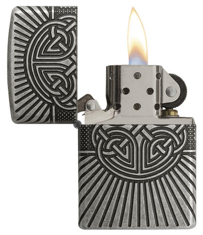 Armor® Celtic Cross Design Windproof Lighter with its lid open and lit