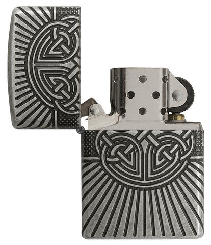 Armor® Celtic Cross Design Windproof Lighter with its lid open and not lit