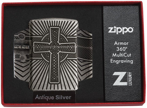 Armor® Celtic Cross Design Windproof Lighter in its packaging