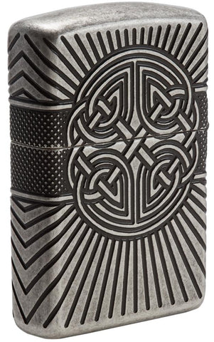 Back view of Armor® Celtic Cross Design Windproof Lighter standing at a 3/4 angle