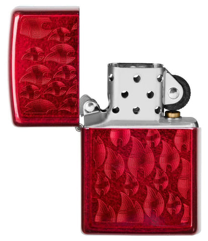 Iced Zippo Flame Design Candy Apple Red Lighter