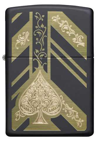 Front view of Black Matte Ace of Spades Windproof Lighter